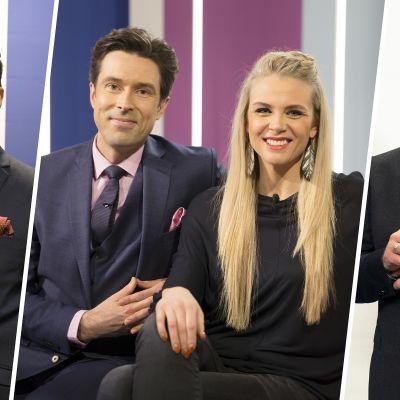 Uutisankkurit Tommy Fränti, Jussi-Pekka Rantanen ja Matti Rönkä juontavat viikon ajan Susanna Laineen kanssa.