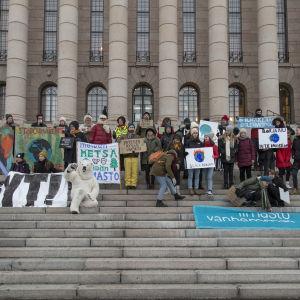 Demonstration mot klimatförändringen vid riksdagshuset 8.2.2019.