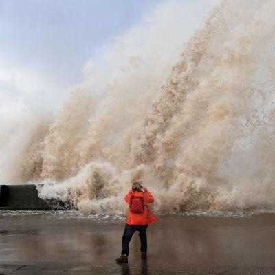 Stormen Eleanor i New Brighton i Storbritannien den 3 januari 2018.