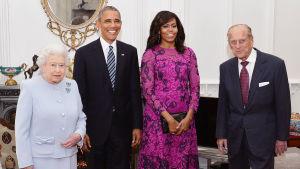 Drottning Elizabeth II, Barack Obama, Michelle Obama och prins Philip.