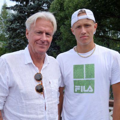 Björn och Leo Borg på blid tillsammans.