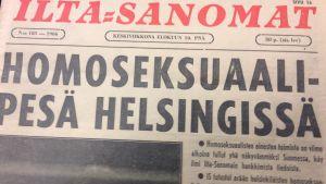 homopesä Helsingissä, artikel i Iltasanomat 10.6.1966