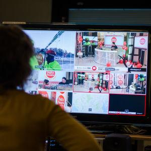 En bild på skärmen från kontrollrummet på Näsdagen 2016.