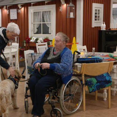Vårdhunden Cooper med sin vårdare och en klient på Grannas i Nagu