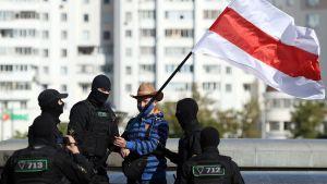 Polis och demonstranter i Minsk 20.9.2020