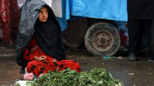 En afghansk flicka säljer grönsaker i regnet i Kabul den 26 mars 2017.