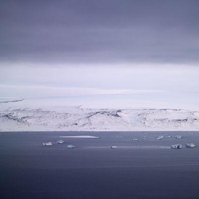 Merta Grönlannin länsipuolella, vastarannalla lumipeitteistä maata.