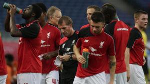 Liverpools träningar med Brendan Rodgers i mitten, juli 2015.