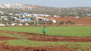 Barn vid flyktigläger i Syrien