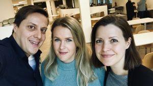 Patrick Jern, Hannah Norrena och Eva Frantz.