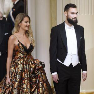 Tim Sparv och Jitka Novackov på självständighetsmottagningen på Presidentens slott 2019.