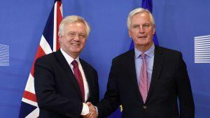 David Davis och Michel Barnier träffades i Bryssel för att inleda brexitförhandlingarna.