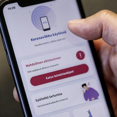 Den nya coronaspårningsappen coronablinkern på en mobilskärm.