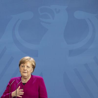 Angela Merkel takanaan seinällä Saksan vaakunaeläin kotka