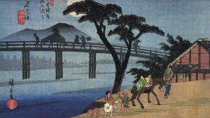 """Träsnitt ur serien """"69 stationer på Kiso-vägen"""" av Utagawa Hiroshige."""