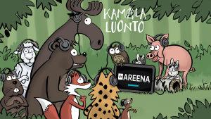 Kamalan luonnon eläimet istuvat kuulokkeet korvillaan metsässä, tabletilla pyörii Yle Areena.