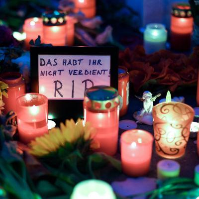 Ljus till minnet av offren i München