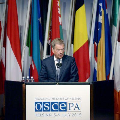 President Sauli Niinistö höll tal vid OSSE-konferensens allmänna sammanträde i Helsingfors den 6 juli 2015.