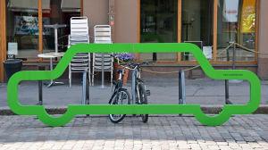 Cykelställning i Hagnäs i Helsingfors.