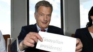 Sauli Niinistö på Politiikan Ry:s lunchtillfälle i Helsingfors.