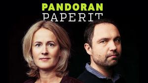 MOT:n toimittajat Minna Knus-Galán ja Jyri Hänninen, taustalla teksti Pandoran paperit