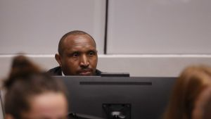 Rebelledaren och krigsherren Bosco Ntaganda i domstolen i Haag.