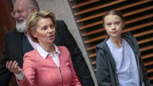 Ursula von der Leyen och Greta Thunberg i EU-kommissionen.