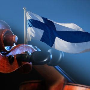 Violin och Finlands flagga.