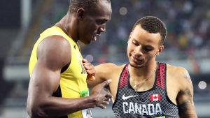 Usain Bolt och Andre De Grasse.
