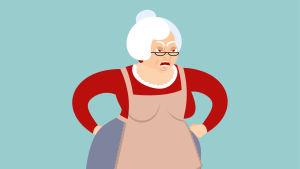 tecknad bild på en arg och rund svärmor med händerna vid höften.