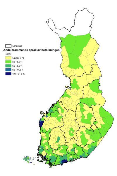 karta över andelen främmande språk i befolkningen  2020