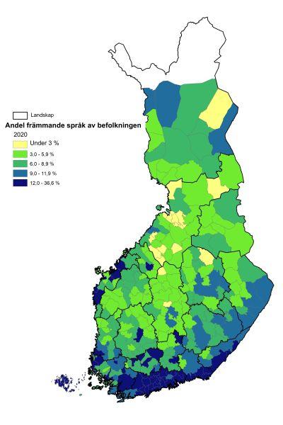 karta över andelen främmande språk i befolkningen  2040