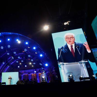 Tysklands president Frank-Walter Steinmeier talar under firandet av 30-årsdagen av Berlinmurens fall.