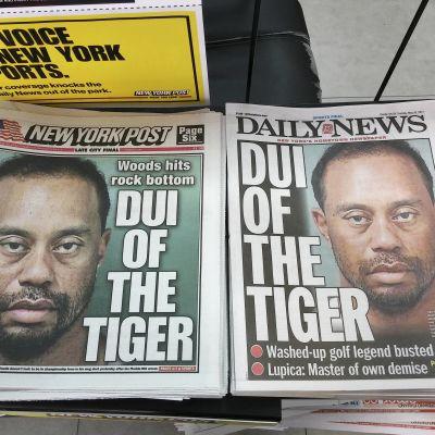 Löpsedlar efter Tiger Woods rattfylleri, våren 2017.