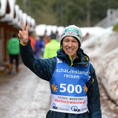 Noriaki Kasai efter sin 500:e världscuptävling.