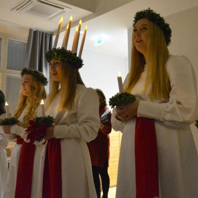 Åbos lucia 2018 Linnéa Gyllenberg med följe.