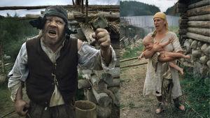 Kaksi kuvaa. Vasemmalla on Juutas Käkriäinen eli Vesa-Matti Loiri. Miehellä on rahjäiset vaatteet yllään. Hän heristää nyrkkiään. Oikealla on vaimo Rosita eli Eija Vilpas. Hän on vihainen ja hänen sylissään on alaston vauva.
