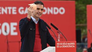 Premiärminister Pedro Sánchez deltog i socialistpartiet PSOE:s valkampanj den 2 maj 2021