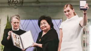 Berit Reiss-Andersen, Setsuko Thurlow och Beatrice Fihn.