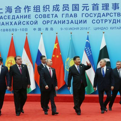Samtliga statsledare i Shanghaigruppen.