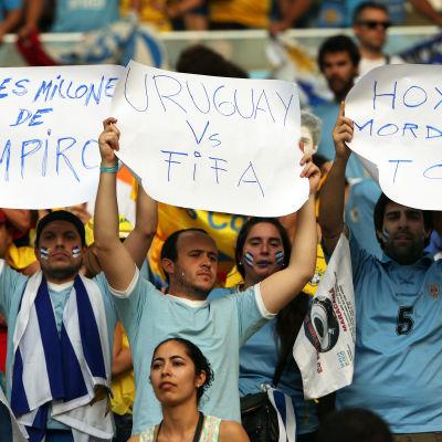 Uruguayanska fans efter Luis Suarez bitavstängning
