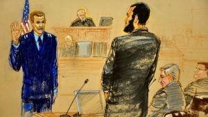 Sketch från Omar Khars rättegång.
