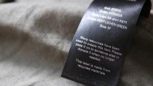 Kierrätysmateriaalista tehty pesulappu
