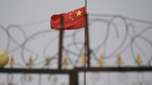Den kinesiska flaggan över ett internerimgsläger i Xinjiang