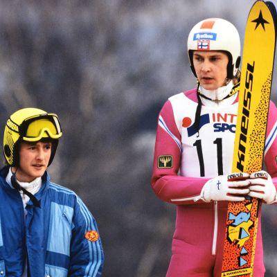 Jens Weissflog och Matti Nykänen år 1989.