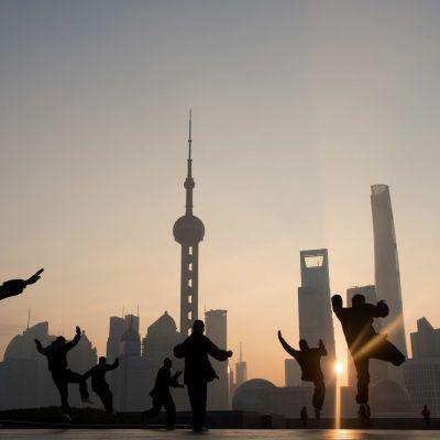 Gymnastikövning i Shanghai