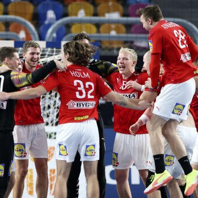 Danmarks spelare firar efter slutsignalen.