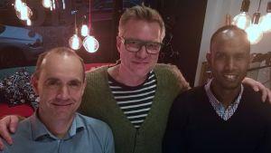 Fritjof Sahlström, Mårten Svartström och Ahmed Hassan i Efter Nio radio