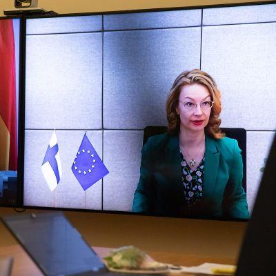 Ett fotografi av två videoskärmar. På den ena ser vi en bild av Finlands Europaminister Tytti Tuppurainen och på den andra en bild av Tysklands minister Michael Roth.