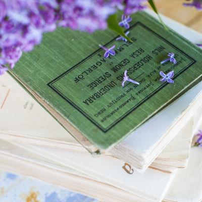 boktrave på ett bord, syrenblommor fallit på böckerna